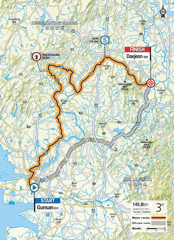 Streckenverlauf Tour de Korea 2016 - Etappe 3