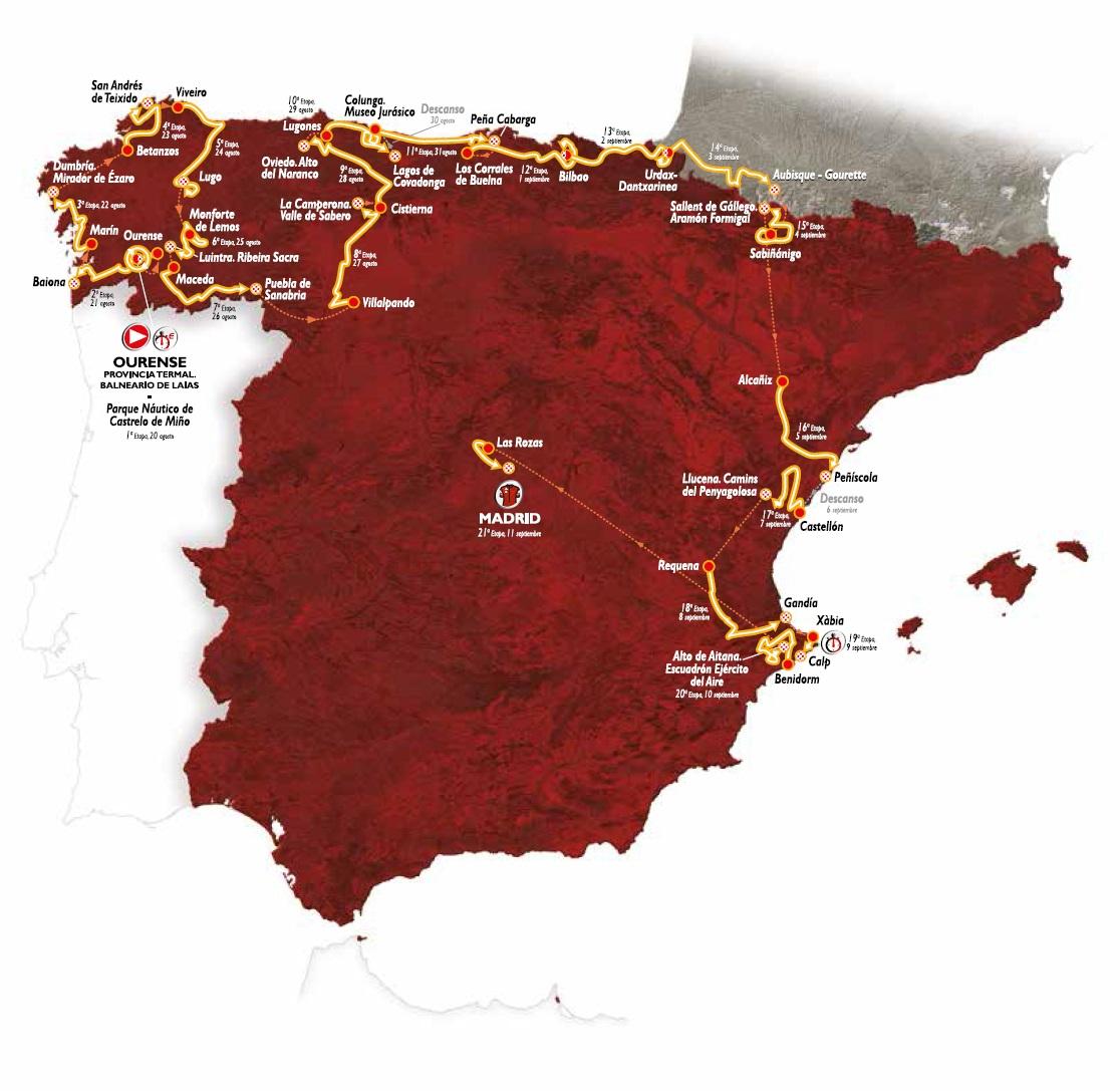 Streckenverlauf Vuelta a España 2016