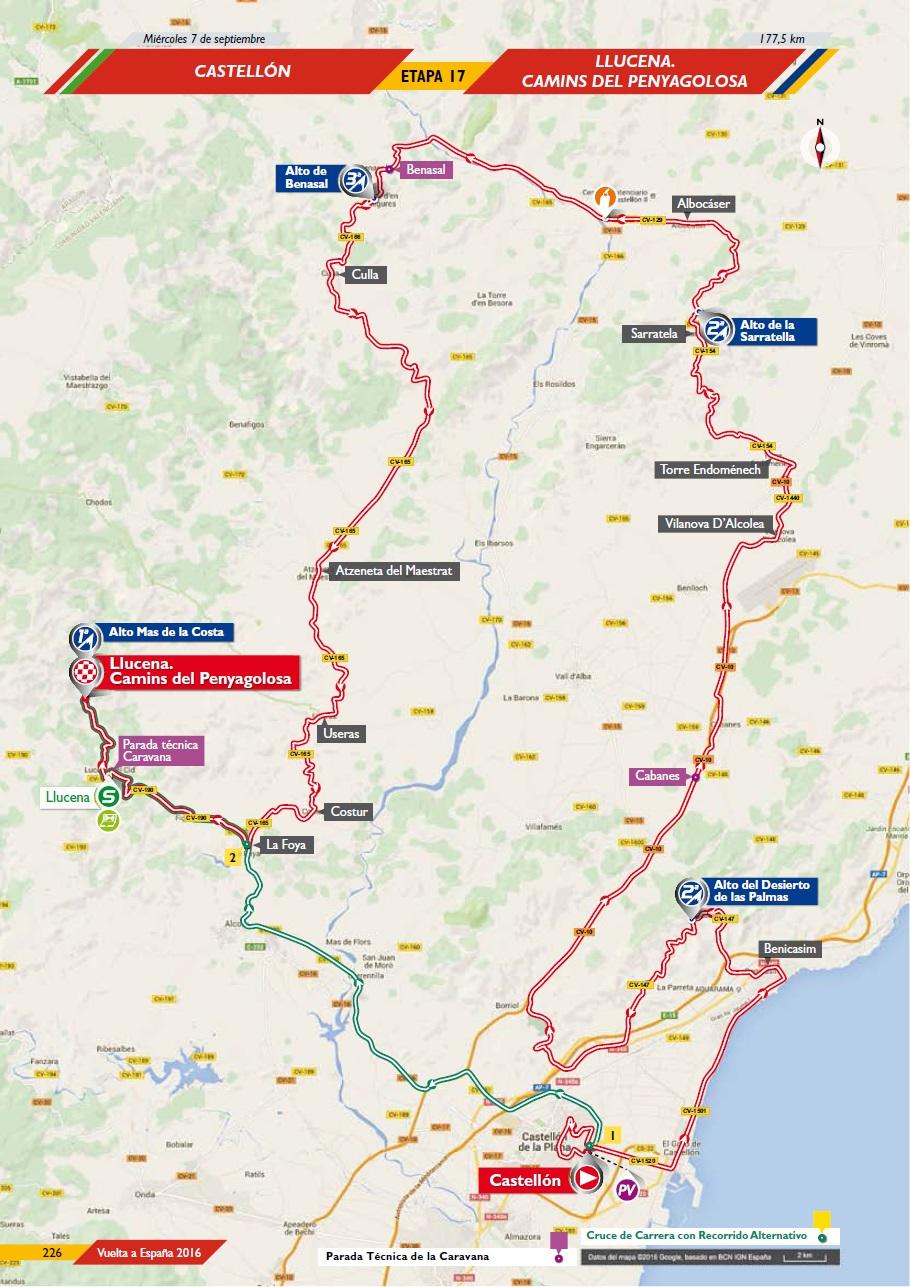 Streckenverlauf Vuelta a España 2016 - Etappe 17