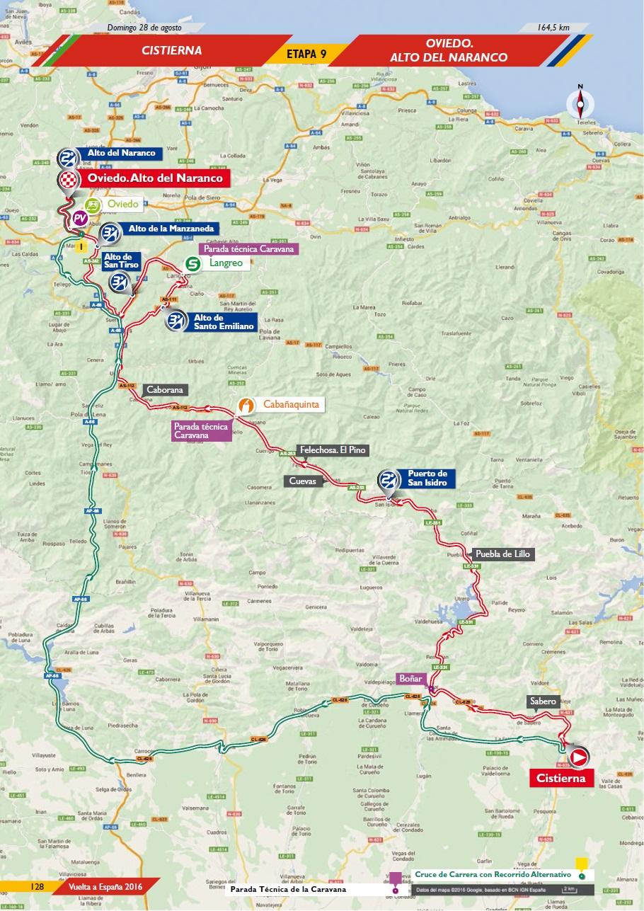 Streckenverlauf Vuelta a España 2016 - Etappe 9