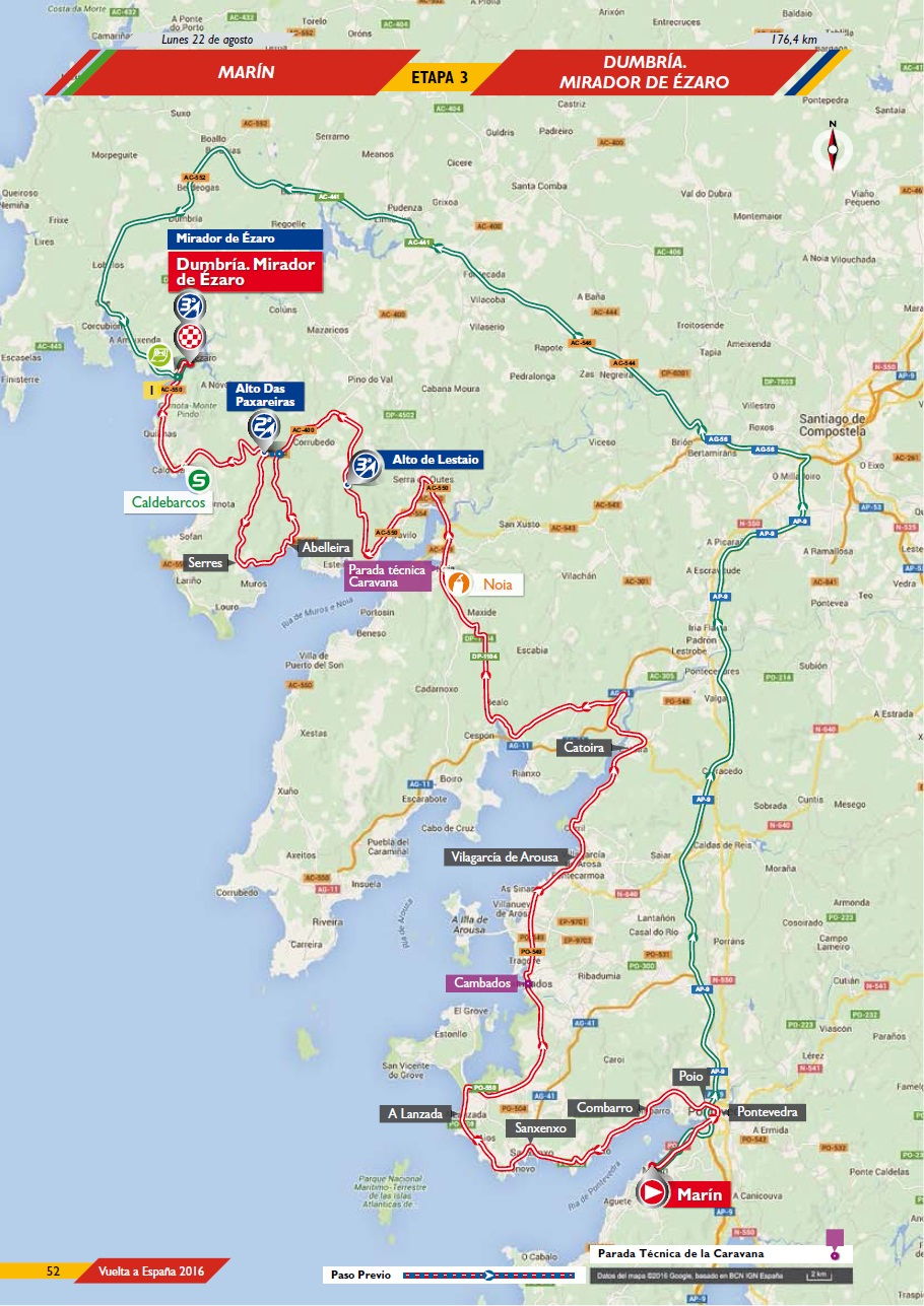 Streckenverlauf Vuelta a España 2016 - Etappe 3