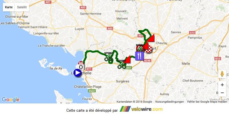 Streckenverlauf Tour du Poitou Charentes 2016 - Etappe 2