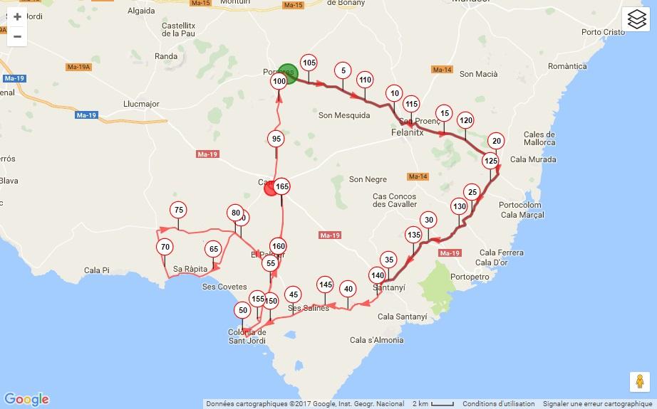 Streckenverlauf Trofeo Porreres, Felanitx, Ses Salines, Campos 2017
