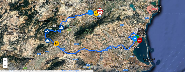 Streckenverlauf Vuelta Ciclista a la Región de Murcia Costa Calida 2017