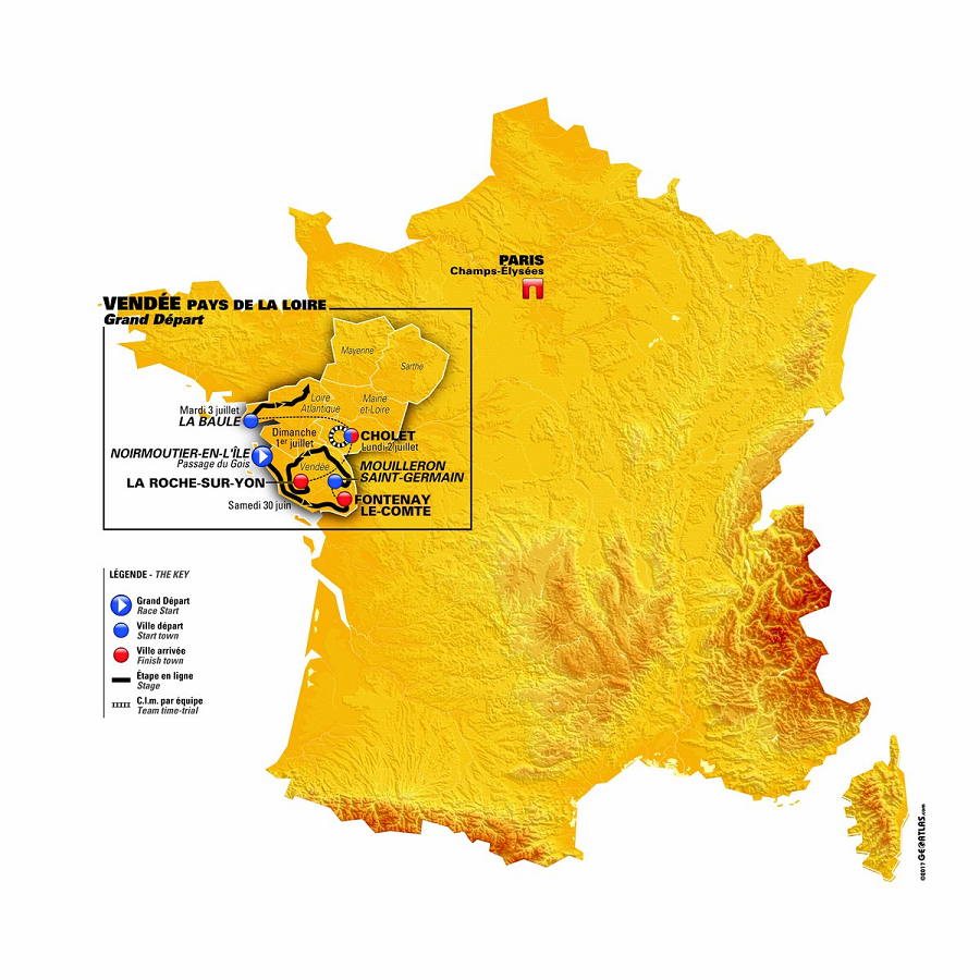 Karte des Grand Départ der Tour de France 2018