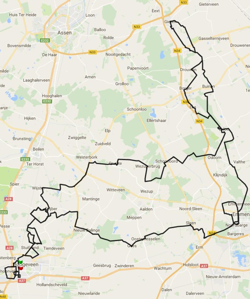 Streckenverlauf Ronde van Drenthe 2017