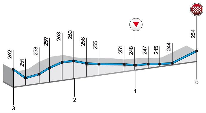 Höhenprofil Trofeo Alfredo Binda - Comune di Cittiglio 2017, letzte 3 km