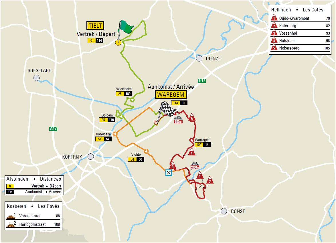 Streckenverlauf Dwars door Vlaanderen Vrouwen 2017