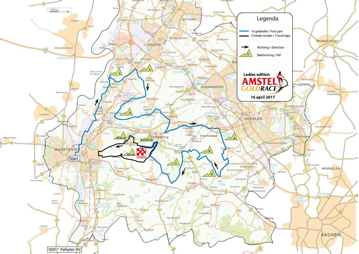 Streckenverlauf Amstel Gold Race 2017 (Frauen)