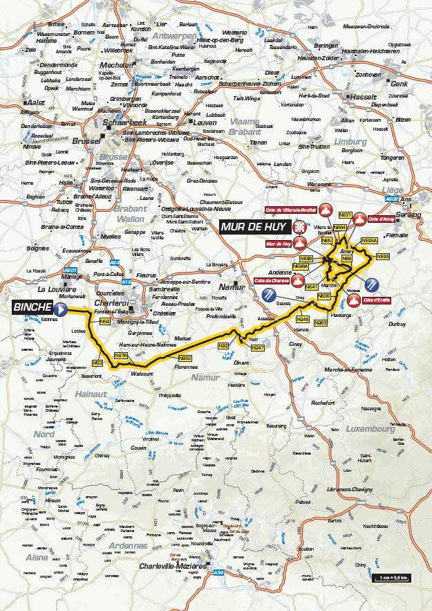 Streckenverlauf La Flèche Wallonne 2017