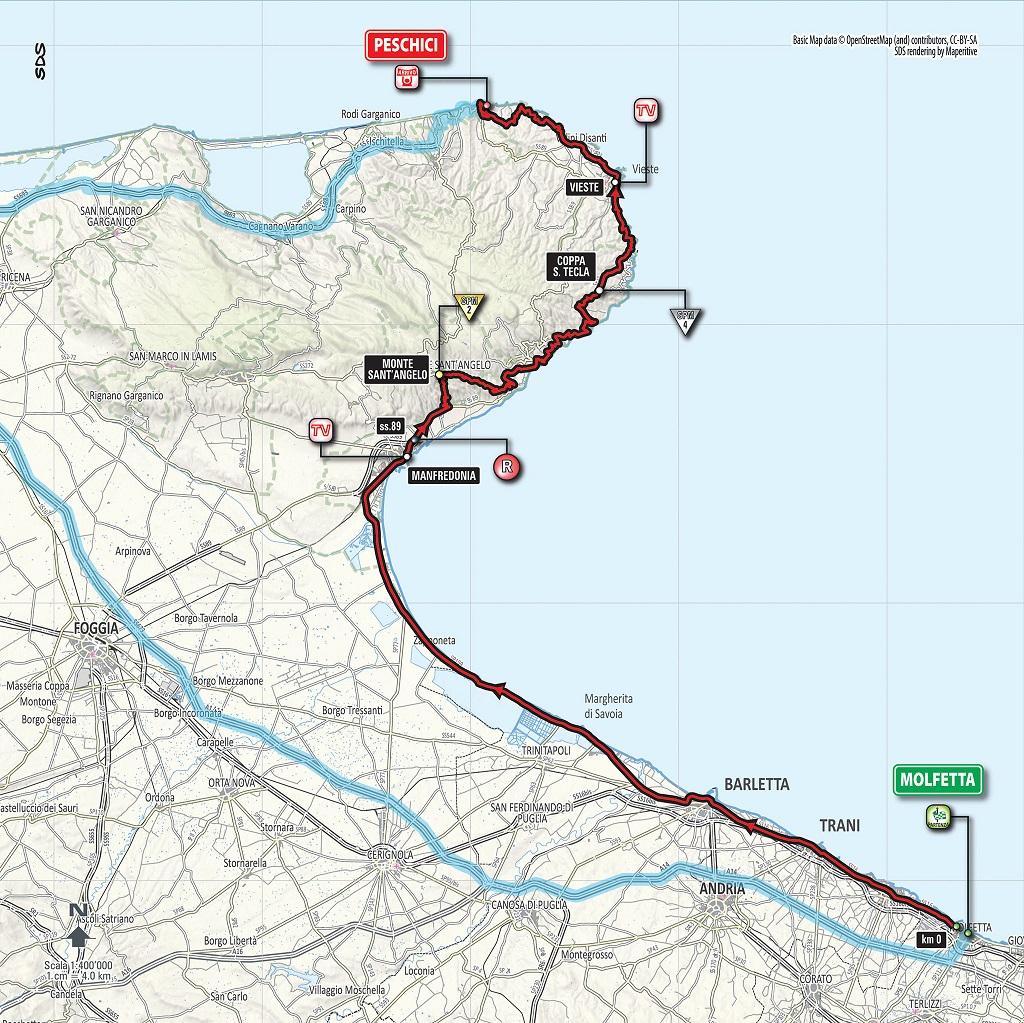 Streckenverlauf Giro d'Italia 2017 - Etappe 8