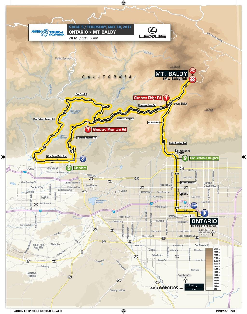 Streckenverlauf Amgen Tour of California 2017 - Etappe 5