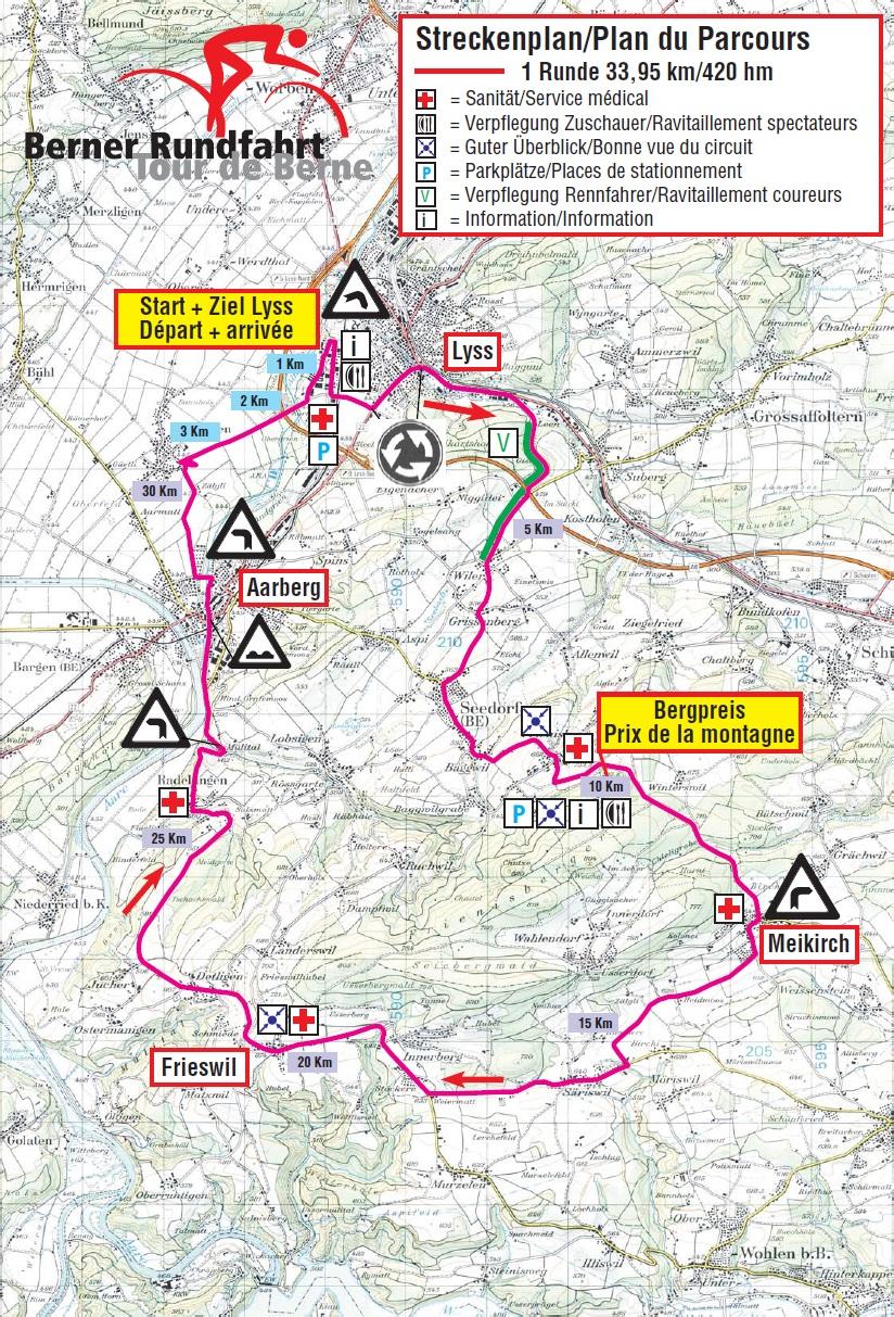 Streckenverlauf Berner Rundfahrt / Tour de Berne 2017