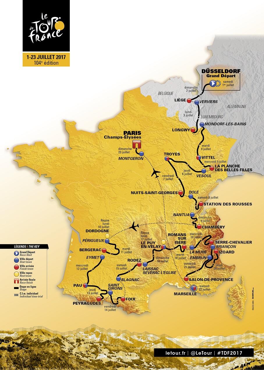 Streckenverlauf Tour de France 2017