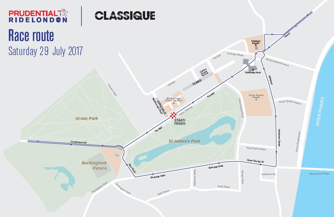 Streckenverlauf Prudential RideLondon Classique 2017
