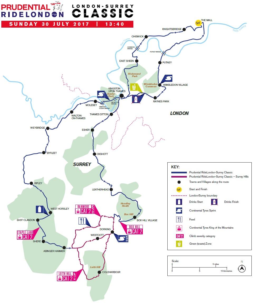 Streckenverlauf Prudential RideLondon-Surrey Classic 2017