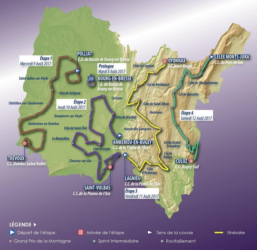 Streckenverlauf Tour de l'Ain 2017