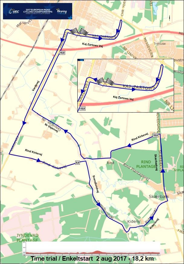 Streckenverlauf Straßen-Europameisterschaft 2017 in Herning - Einzelzeitfahren Juniorinnen
