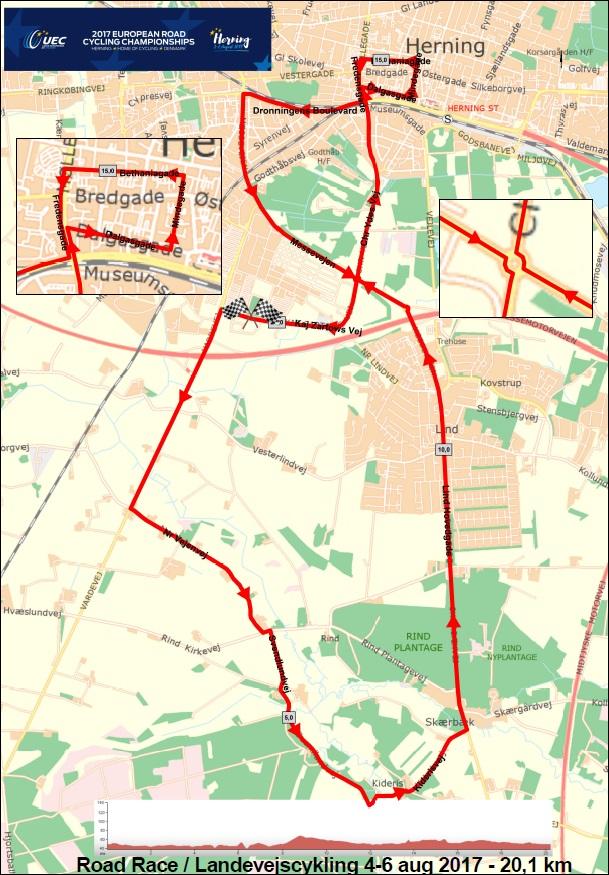 Streckenverlauf Straßen-Europameisterschaft 2017 in Herning - Straßenrennen Frauen U23