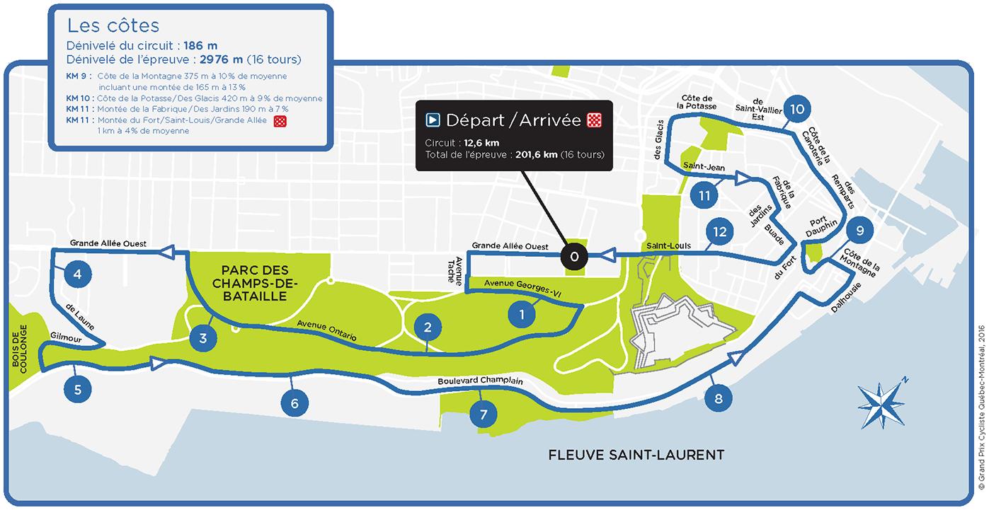 Streckenverlauf Grand Prix Cycliste de Québec 2017