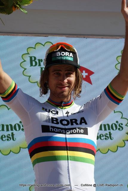 Weltmeister Peter Sagan feierte beim GP Quebec den 100. Sieg seiner Karriere - dieses Bild zeigt ihn bei seinem Etappensieg auf der 8. Etappe der Tour de Suisse 2017