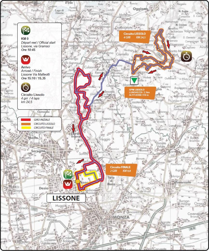 Streckenverlauf Coppa Agostoni - Giro delle Brianze 2017