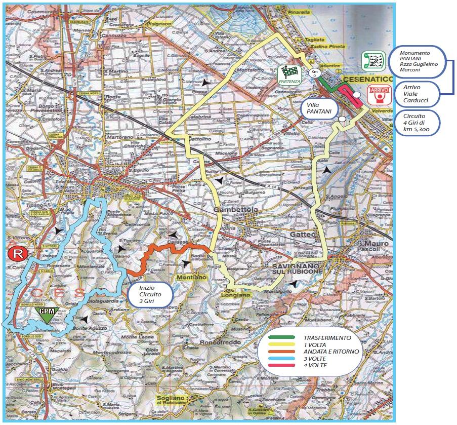 Streckenverlauf Memorial Marco Pantani 2017
