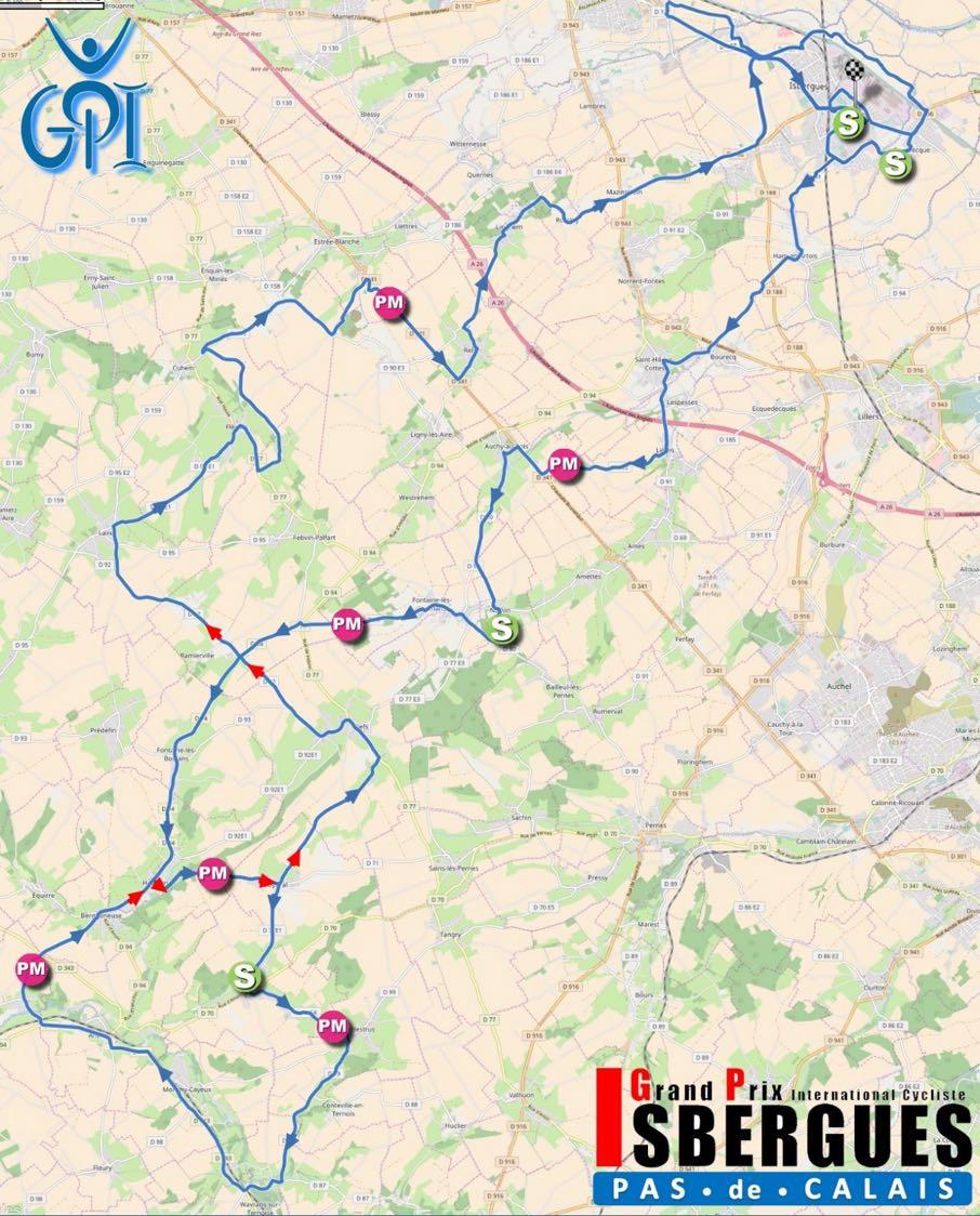 Streckenverlauf Grand Prix d'Isbergues - Pas de Calais 2017