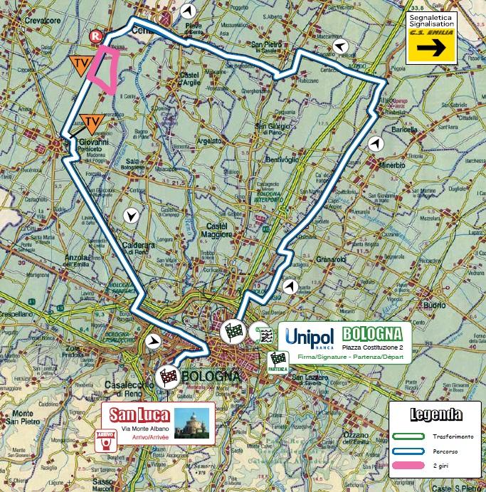 Streckenverlauf Giro dell'Emilia Internazionale Donne Elite 2017