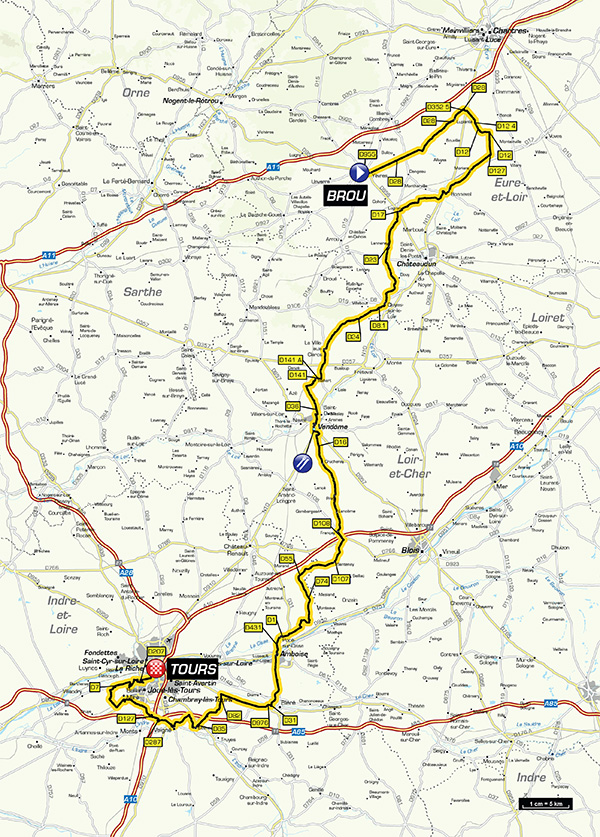 Streckenverlauf Paris - Tours Elite 2017