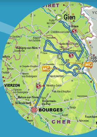Streckenverlauf Paris - Bourges 2017