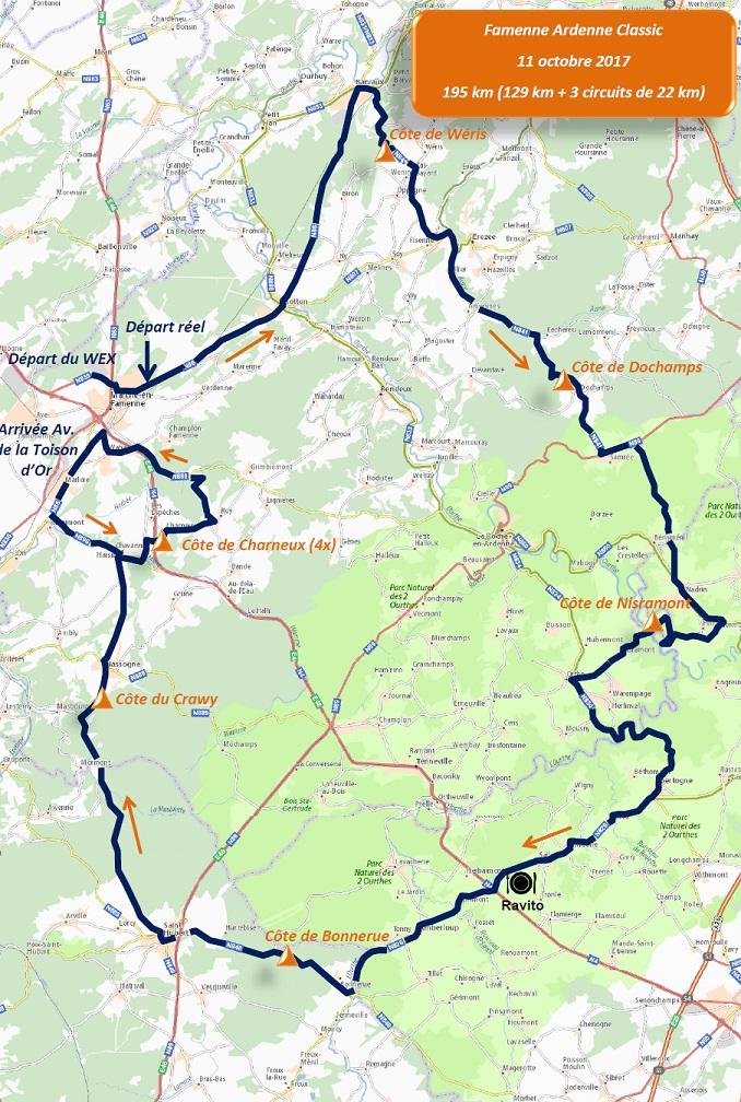 Streckenverlauf Famenne Ardenne Classic 2017