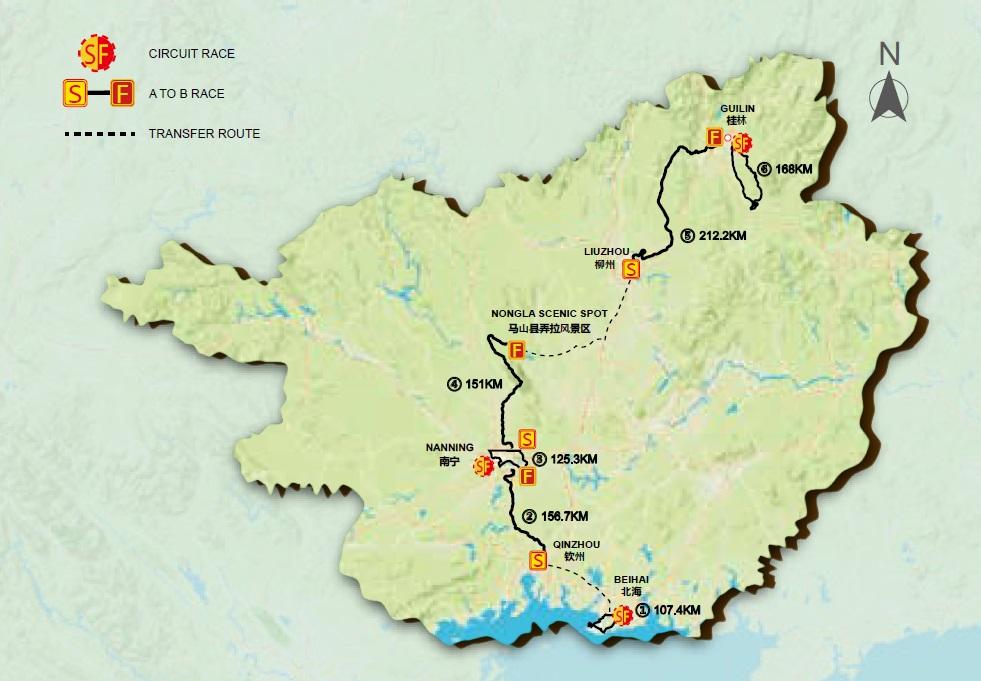 Streckenverlauf Gree-Tour of Guangxi 2017