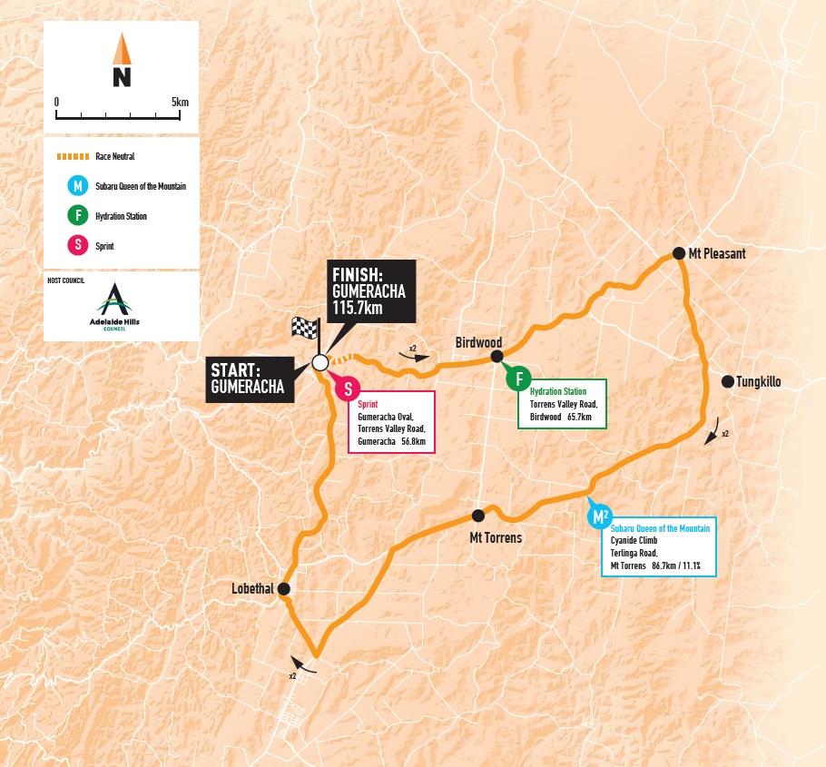 Streckenverlauf Santos Women's Tour 2018 - Etappe 1