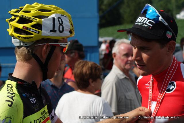 Fabian Lienhard zusammen mit seinem Trainingspartner Silvan Dillier bei den Schweizer Meisterschaften 2017
