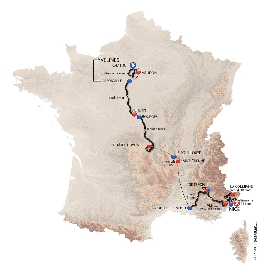 Präsentation Paris-Nizza 2017: Streckenkarte