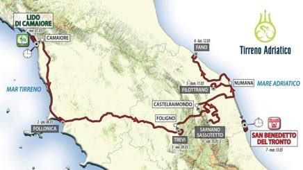 Präsentation Tirreno-Adriatico 2017: Streckenkarte