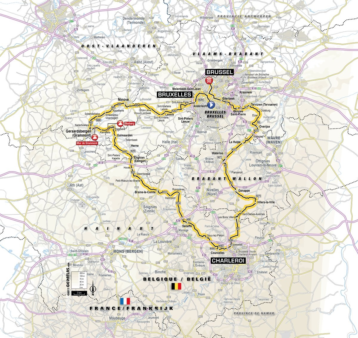 Präsentation des Grand Départ der Tour de France 2019: Die Streckenkarte der 1. Etappe