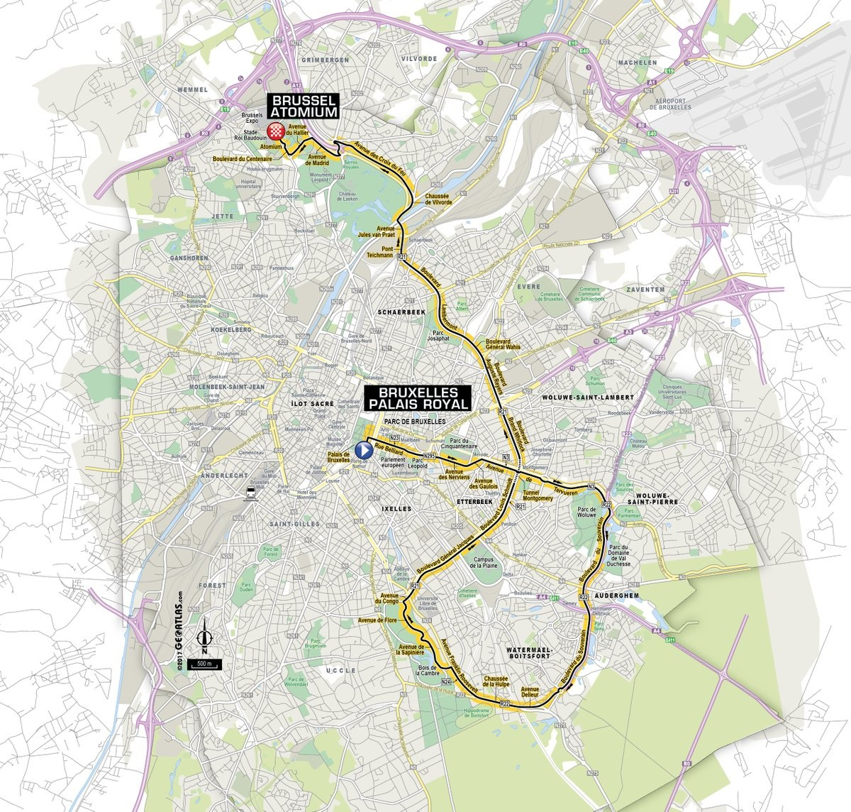 Präsentation des Grand Départ der Tour de France 2019: Die Streckenkarte der 2. Etappe