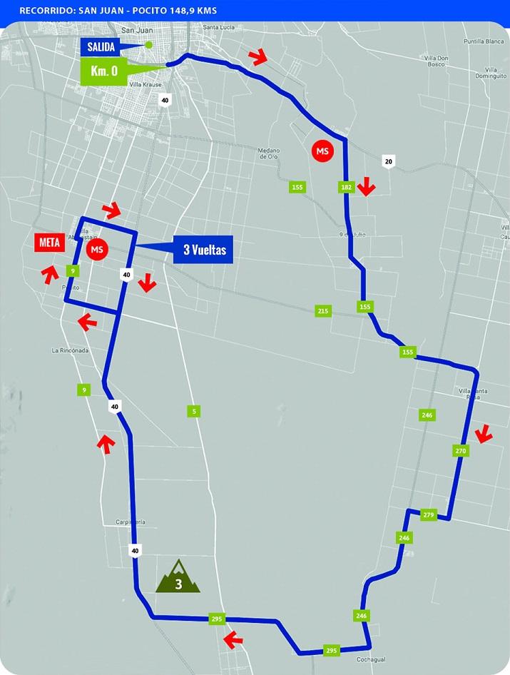 Streckenverlauf Vuelta a San Juan Internacional 2018 - Etappe 1