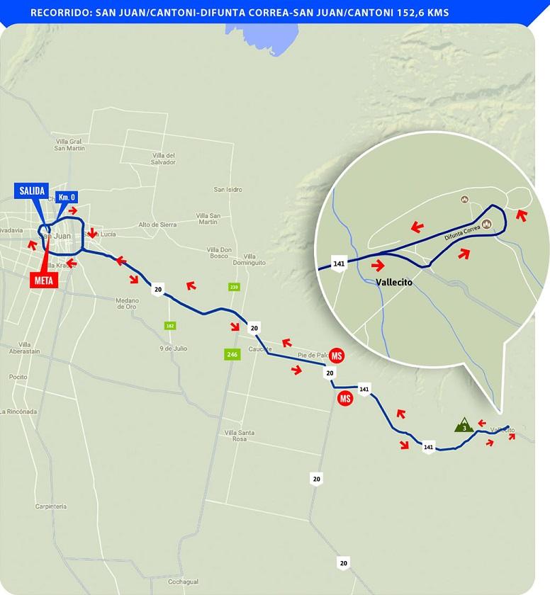 Streckenverlauf Vuelta a San Juan Internacional 2018 - Etappe 6