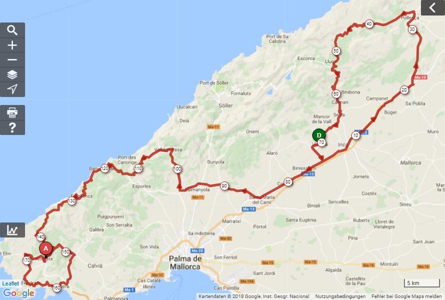 Streckenverlauf Trofeo Lloseta-Andratx 2018