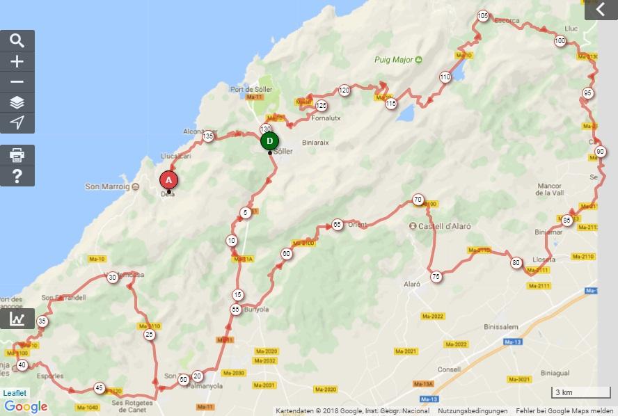 Streckenverlauf Trofeo Serra de Tramuntana 2018