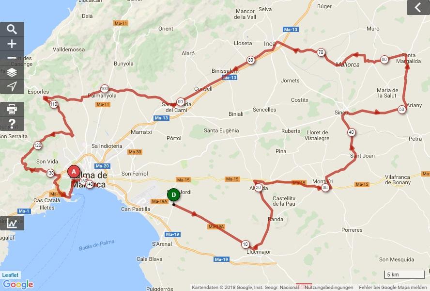 Streckenverlauf Trofeo Playa de Palma 2018