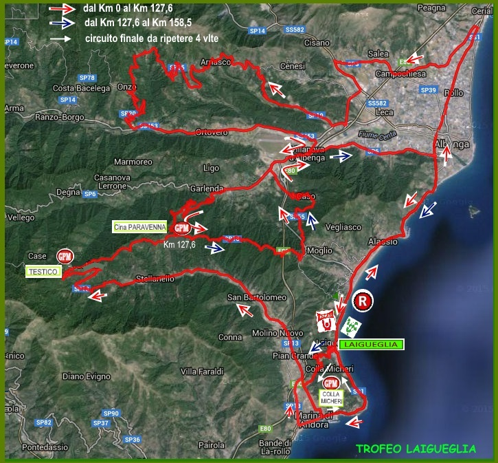 Streckenverlauf Trofeo Laigueglia 2018