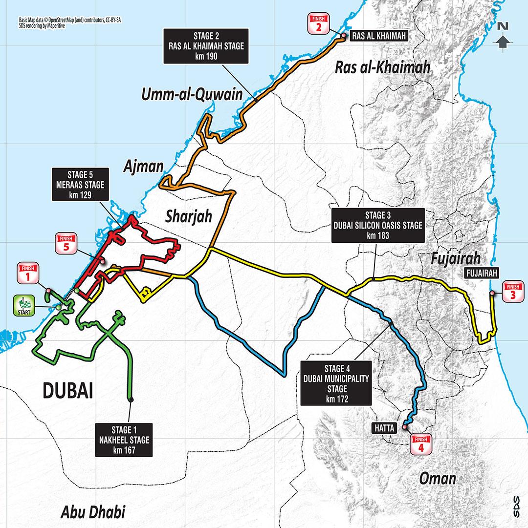 Streckenverlauf Dubai Tour 2018