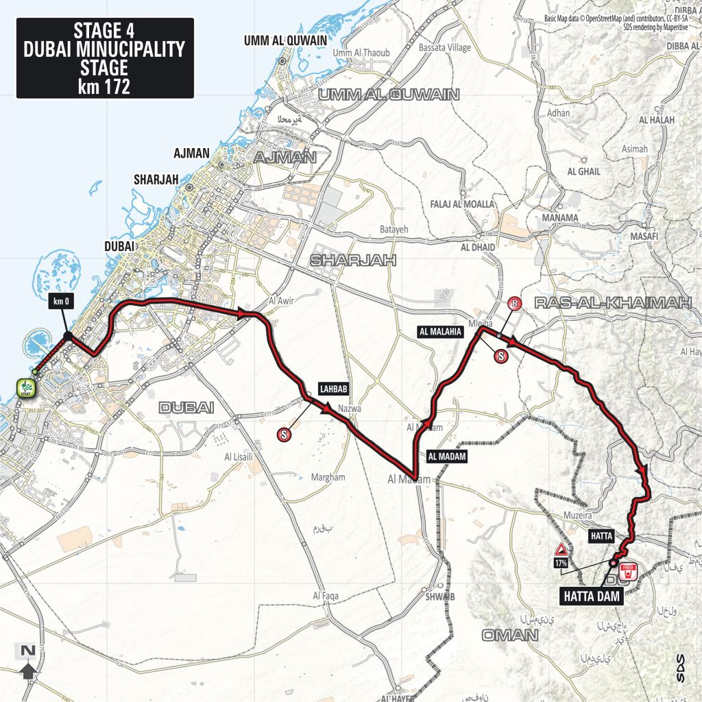 Streckenverlauf Dubai Tour 2018 - Etappe 4