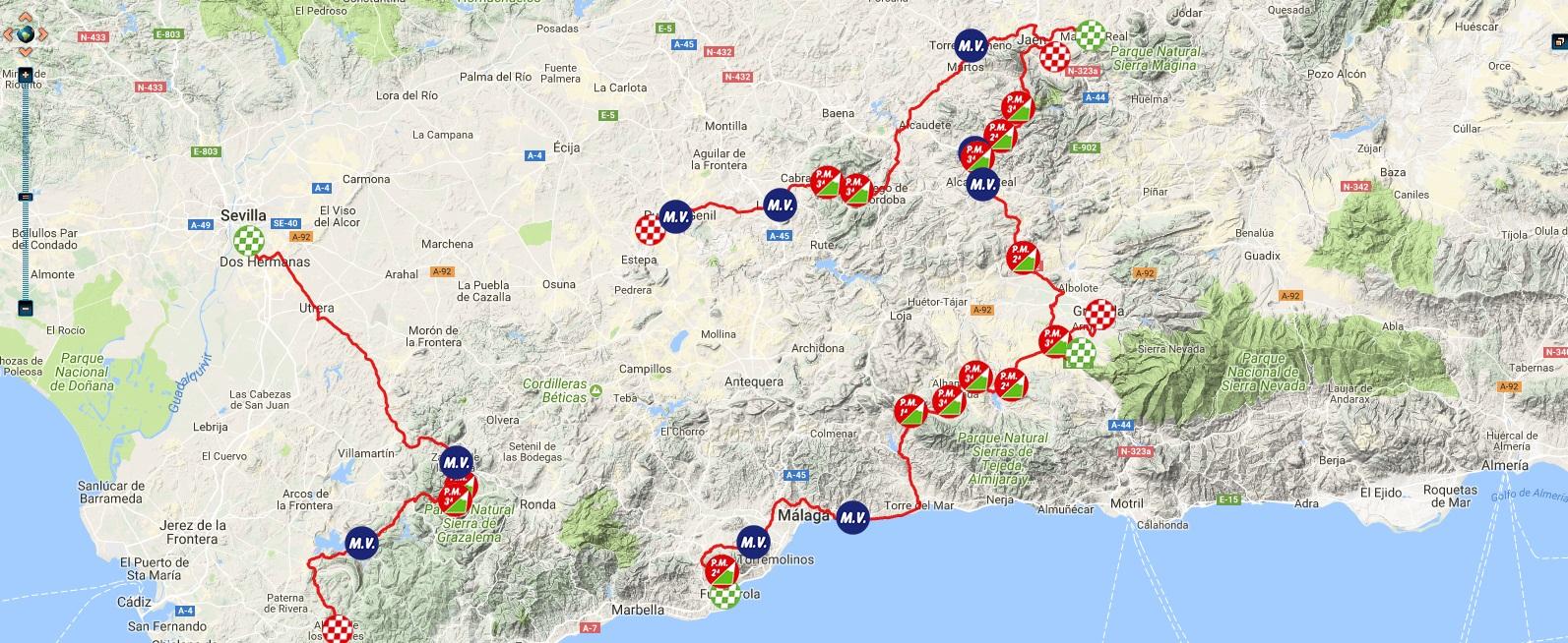 Streckenverlauf Vuelta a Andalucia Ruta Ciclista Del Sol 2018