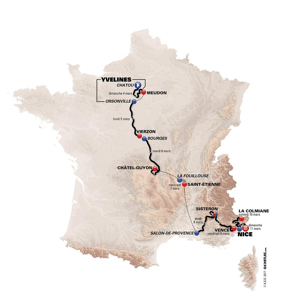 Streckenverlauf Paris - Nice 2018