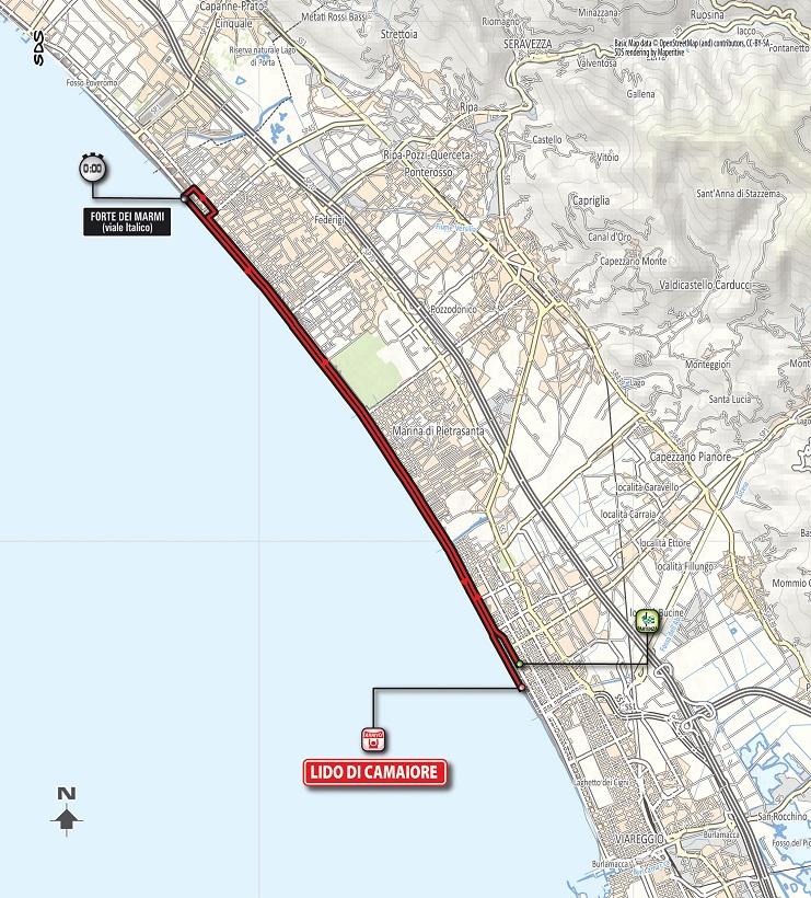 Streckenverlauf Tirreno - Adriatico 2018 - Etappe 1